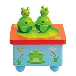Wooden dancing frogs