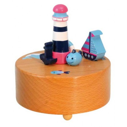 Wooden light house with boat