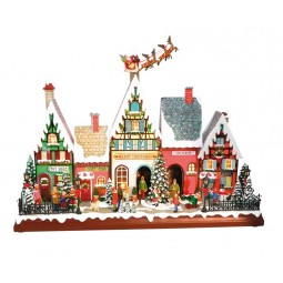 "Musicbox ""Houses with flying santa"