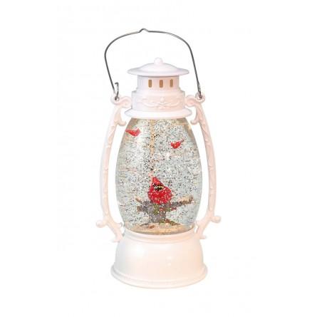 "Musicbox ""White Lantern with glitter globe"""