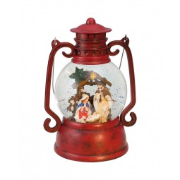 Red lantern with crib scene