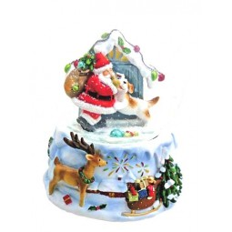 Snow globe santa with dog