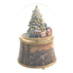 Snow globe Christmas tree with train