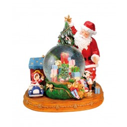 Snow globe Santa with gifts