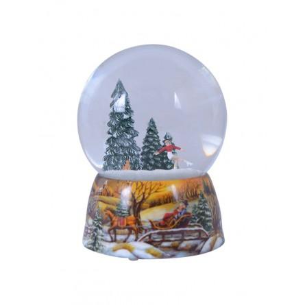 Snowglobe, porcelain base, figure skater