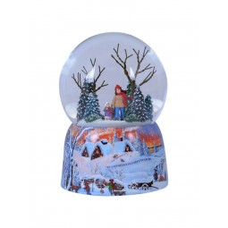 Snowglobe, porcelain base, promenade in the forest
