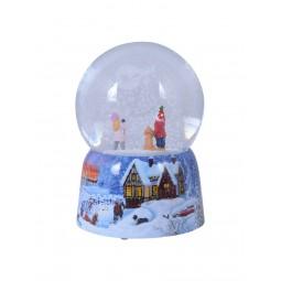 Snowglobe, porcelain base, snowfall
