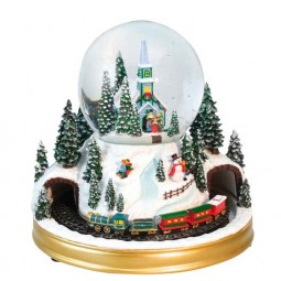 "Snowglobe ""Blue church with carol-singers"""