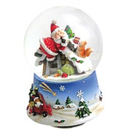 Snow globe Santa with squirrel