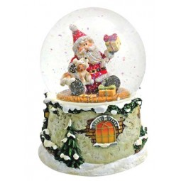 "Snowglobe ""Santa with present and dog"""