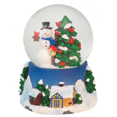 "Snowglobe ""Snowman with cardinals"""