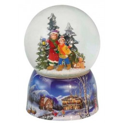 "Snowglobe ""Kids with lantern in the woods"""