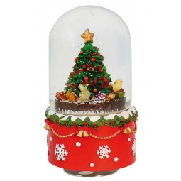 "Oval Snowglobe ""Christmas-tree scene"""