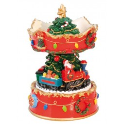 "Musicbox "" Christmas carousel with Santa and train"""