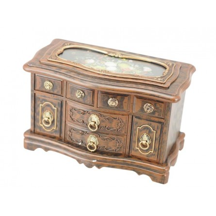 Jewelry chest of drawers in wood design