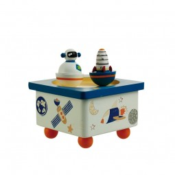 Wooden musicbox dancing astronaut & rocket
