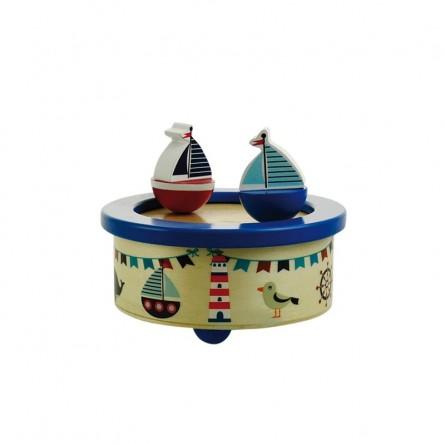 Wooden musicbox dancing sailingboats