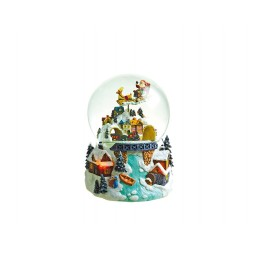 Snowglobe flying Santa