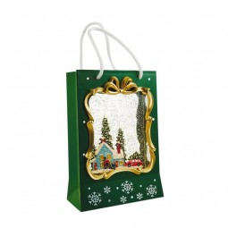 Christmas shopping bag in green