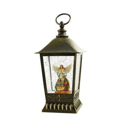 Glitter lantern with angel and nativity scene
