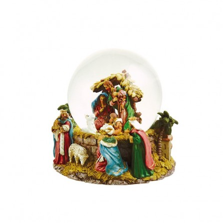Glitter globe with nativity scene and sheep