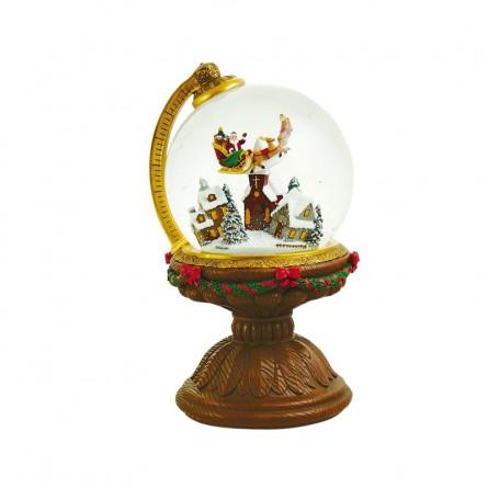 Snow globe flying Santa in a globe