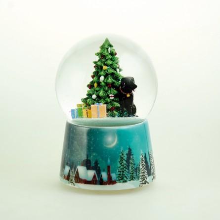 Music box Snow globe with a black labrador
