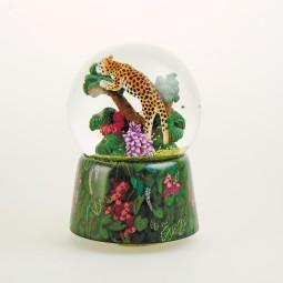 Music box Glitter globe leopard