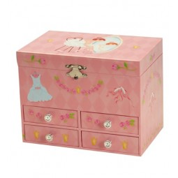 Ballerina jewelry box with four drawers