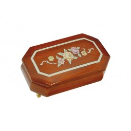 Octagonal jewelry box with flowers