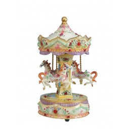 Beige carousel made of poly stone with a red gem