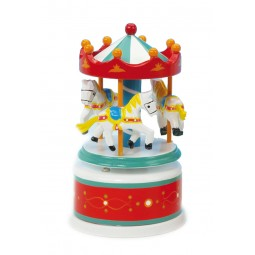 Wooden carousel red/white, 130 mm