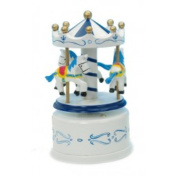 Blue & white wooden carousel 130 mm