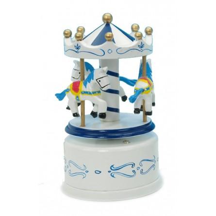 Wooden carousel blue / white 130 mm