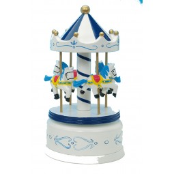Blue & white wooden carousel 210 mm
