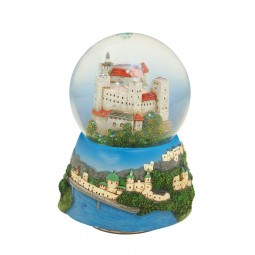 "Snow globe ""Castle of Salzburg"" with a nicely painted base"