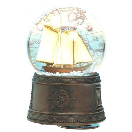 Snow globe sailboat