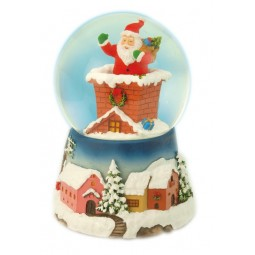 Snow globe Santa in the chimney