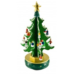 6 Green tree with glitter 260 mm