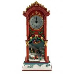 Grandfather clock snow scene