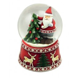 Snow globe Santa on tree
