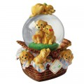 Dog basket with glitter globe
