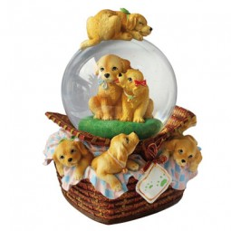 Dog basket glitter globe