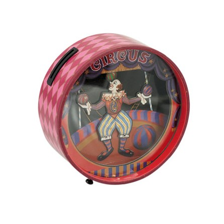 Piggy bank with a dancing clown
