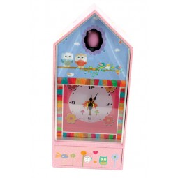 Owl music box with clock and owl