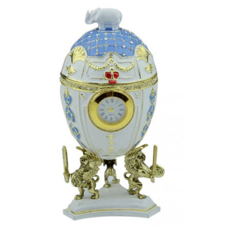 Jewelry egg in Fabergé style white