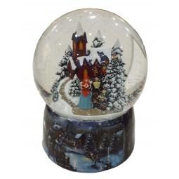 Porcelain snow globe church scene