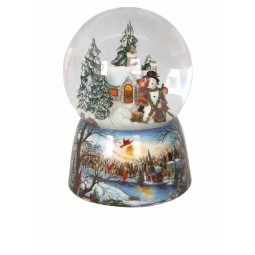 "Porcelain snow globe ""Build a snowman"""