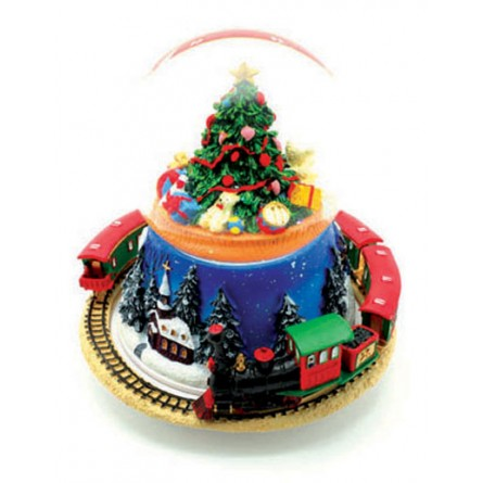 Snow globe with Christmas tree and train