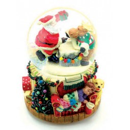 Snow globe with Santa and elk
